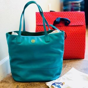 Tory Burch Michelle Angelux Turquoise Tote